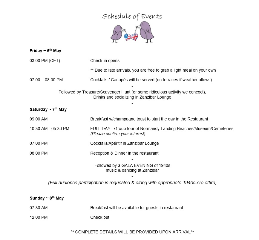Schedule of events France